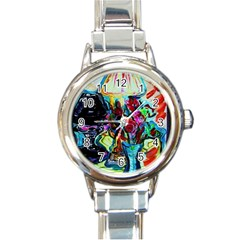 Still Life With Two Lamps Round Italian Charm Watch