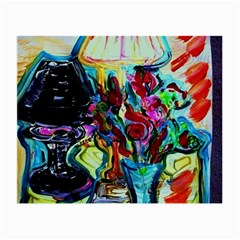 Still Life With Two Lamps Small Glasses Cloth by bestdesignintheworld