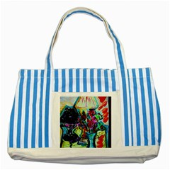 Still Life With Two Lamps Striped Blue Tote Bag by bestdesignintheworld