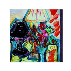 Still Life With Two Lamps Small Satin Scarf (square) by bestdesignintheworld