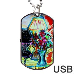 Still Life With Two Lamps Dog Tag Usb Flash (one Side)