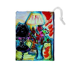 Still Life With Two Lamps Drawstring Pouches (large)