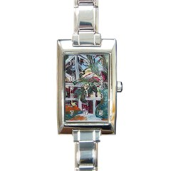 Still Life With Tangerines And Pine Brunch Rectangle Italian Charm Watch