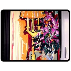 Still Life With Lamps And Flowers Fleece Blanket (large)