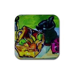 Still Life With A Pigy Bank Rubber Coaster (square)