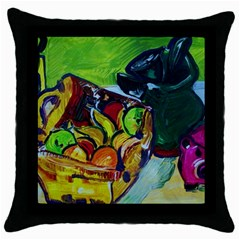 Still Life With A Pigy Bank Throw Pillow Case (black)