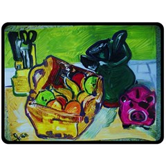 Still Life With A Pigy Bank Double Sided Fleece Blanket (large)