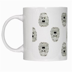 Angry Theater Mask Pattern White Mugs