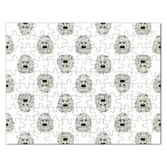 Angry Theater Mask Pattern Rectangular Jigsaw Puzzl