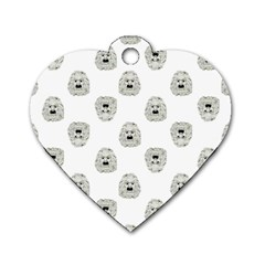 Angry Theater Mask Pattern Dog Tag Heart (two Sides)