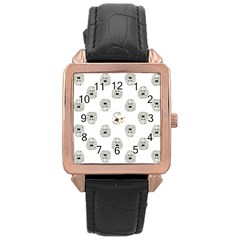 Angry Theater Mask Pattern Rose Gold Leather Watch