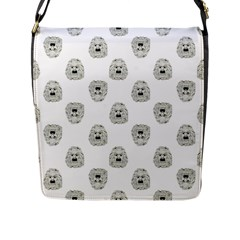 Angry Theater Mask Pattern Flap Messenger Bag (l)