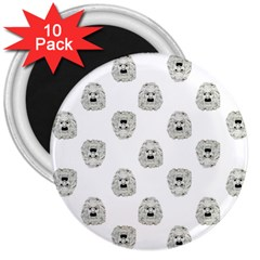 Angry Theater Mask Pattern 3  Magnets (10 Pack)