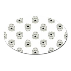 Angry Theater Mask Pattern Oval Magnet