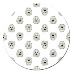 Angry Theater Mask Pattern Magnet 5  (round)