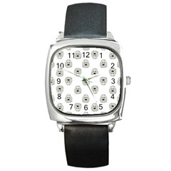 Angry Theater Mask Pattern Square Metal Watch