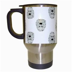 Angry Theater Mask Pattern Travel Mugs (white)