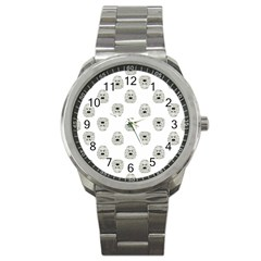 Angry Theater Mask Pattern Sport Metal Watch