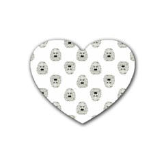 Angry Theater Mask Pattern Heart Coaster (4 Pack)