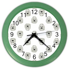 Angry Theater Mask Pattern Color Wall Clocks