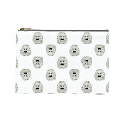 Angry Theater Mask Pattern Cosmetic Bag (large)