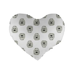 Angry Theater Mask Pattern Standard 16  Premium Heart Shape Cushions