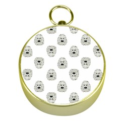 Angry Theater Mask Pattern Gold Compasses