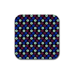 Eye Dots Blue Magenta Rubber Coaster (square)