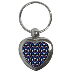 Eye Dots Blue Magenta Key Chains (heart)