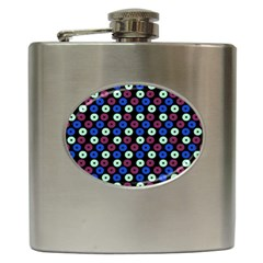 Eye Dots Blue Magenta Hip Flask (6 Oz)