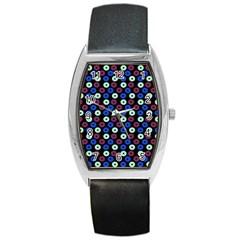 Eye Dots Blue Magenta Barrel Style Metal Watch