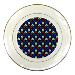 Eye Dots Blue Magenta Porcelain Plates