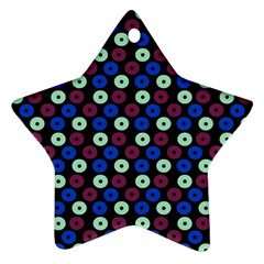 Eye Dots Blue Magenta Star Ornament (two Sides)