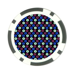 Eye Dots Blue Magenta Poker Chip Card Guard