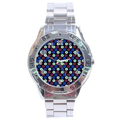 Eye Dots Blue Magenta Stainless Steel Analogue Watch
