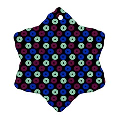 Eye Dots Blue Magenta Snowflake Ornament (two Sides)