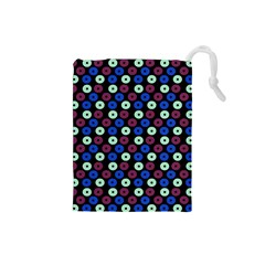 Eye Dots Blue Magenta Drawstring Pouches (small)