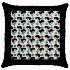 Redhead Girl Blue Throw Pillow Case (black)