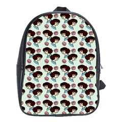 Redhead Girl Blue School Bag (xl) by snowwhitegirl