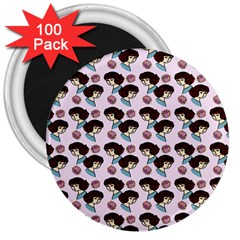 Redhead Girl Pink 3  Magnets (100 Pack)