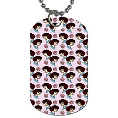 Redhead Girl Pink Dog Tag (two Sides) by snowwhitegirl