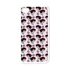 Redhead Girl Pink Apple Iphone 4 Case (white) by snowwhitegirl