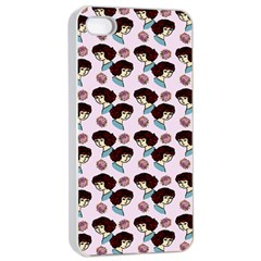 Redhead Girl Pink Apple Iphone 4/4s Seamless Case (white)