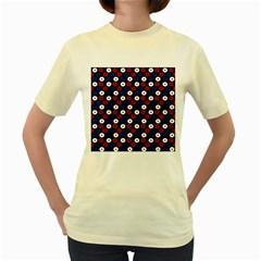 Eye Dots Red Blue Women s Yellow T Shirt