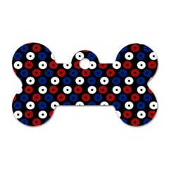 Eye Dots Red Blue Dog Tag Bone (two Sides)