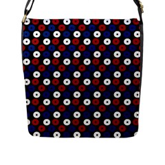 Eye Dots Red Blue Flap Messenger Bag (l)
