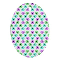Eye Dots Green Violet Ornament (oval)
