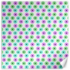 Eye Dots Green Violet Canvas 16  X 16