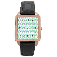 Eye Dots Green Violet Rose Gold Leather Watch