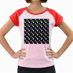 Eye Dots Green Blue Red Women s Cap Sleeve T Shirt
